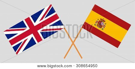 The UK and Spain. British and Spanish flags. Official colors. Correct proportion. Vector illustration poster