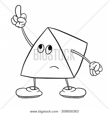 Funny Triangle Smiley With Legs And Eyes Shows An Indecent Gesture With His Finger. Coloring Book Fo