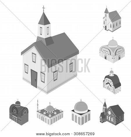 Vector Illustration Of Landmark And Clergy Symbol. Set Of Landmark And Religion Stock Symbol For Web