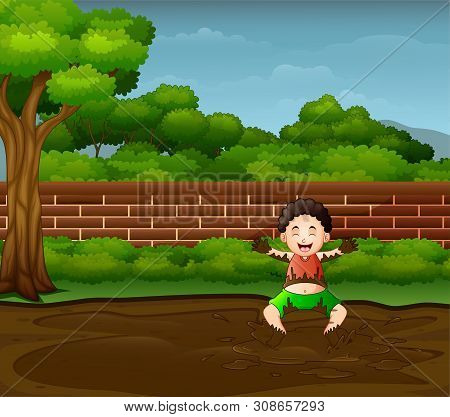 Illustration Of Happy Boy Playing In The Mud