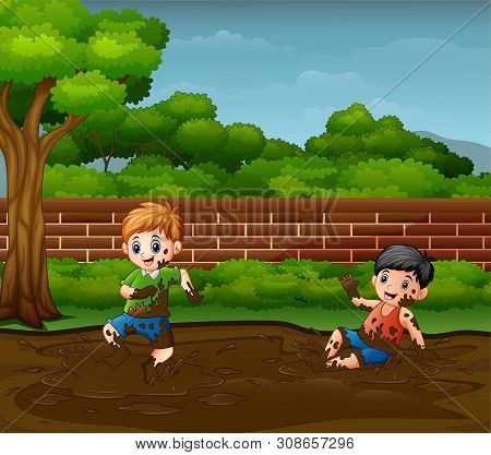 Illustration Of Happy Boys Playing In The Mud