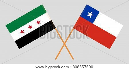 Chile And Syria. The Chilean And Syrian Flags. Official Colors. Correct Proportion. Vector Illustrat