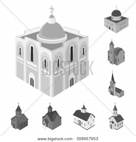 Vector Illustration Of Landmark And Clergy Icon. Set Of Landmark And Religion Vector Icon For Stock.