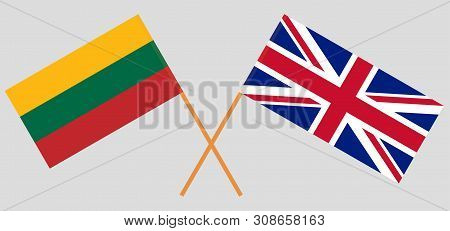 The Uk And Lithuania. British And Lithuanian Flags. Official Colors. Correct Proportion. Vector Illu