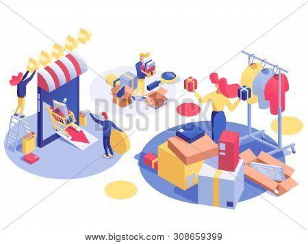 E-commerce And Digital Marketing Isometric Illustration. Internet Store Clearance Sales, Online Shop
