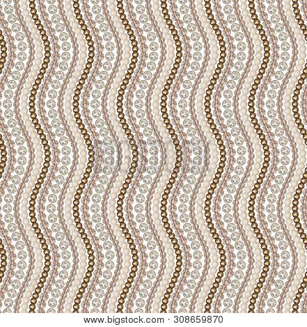 Seamless Pattern Of Different Beads. Pearl, Glass, Acrylic Beads. Beads Are Arranged Vertical Wave.