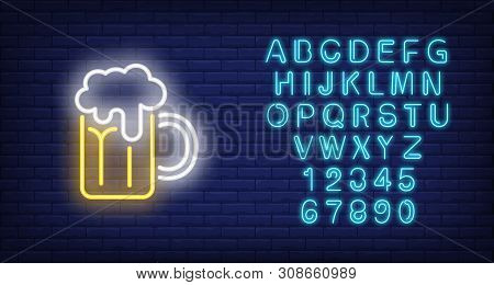 Beer mug with froth on brick background. Neon style illustration. Pub, bar, Oktoberfest. Alcohol banner. For holiday, beverage, nightlife concepts poster