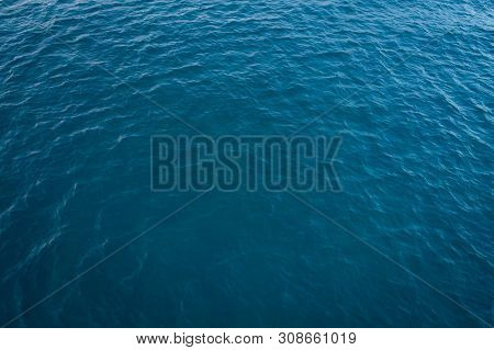 Beach Top View With Pattern Wave. Stock Photo Image Of Blue Color Deep Ocean Water, Sea Surface. Sof