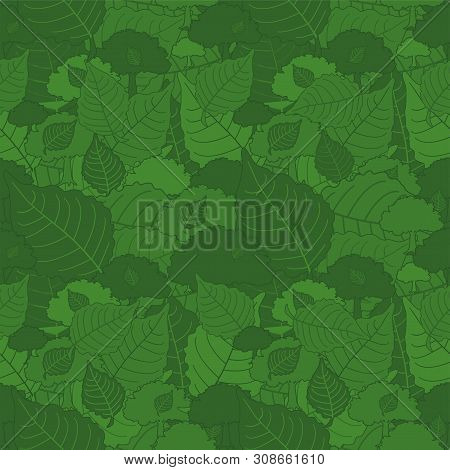 Seamless Pattern, Green Camouflage Poplar Leaves For Fabrics, Wallpapers, Tablecloths, Prints And De