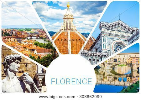 Photo Collage From Florence - Cupola Brunelleschi, Statue Of David By Michelangelo, Ponte Vecchio, C