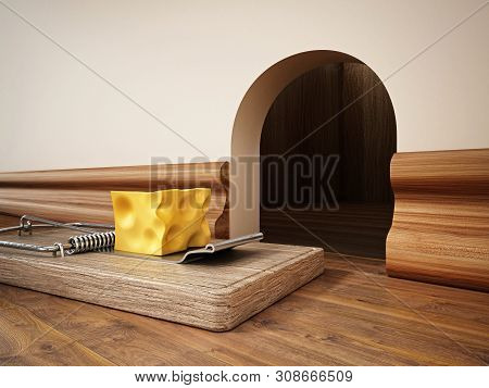 Mouse Trap With A Piece Of Cheese Standing In Front Of The Mouse Hole. 3d Illustration.