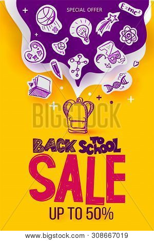 Back To School Sale Poster With Line Art Symbols Of Education, Science Objects On Paper Art Cut Out