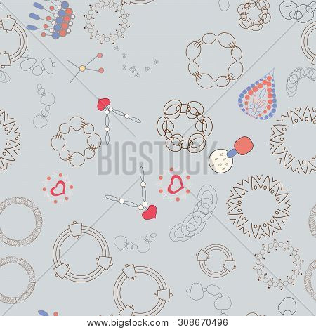 Beautiful Trendy Colourful Chains And Bracelets Seamless Pattern On Blue Background. Jewellery Illus