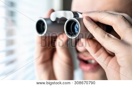 Nosy Neighbor Or Stalker With Binoculars. Funny Crazy Man Staring At People. Curious Guy Looking Out