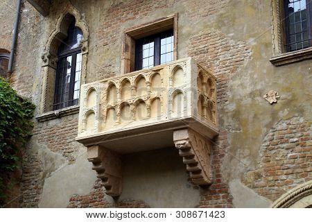 Verona, Italy - April 29, 2019:  Romeo And Juliet Balcony In Verona, Italy, Europe.