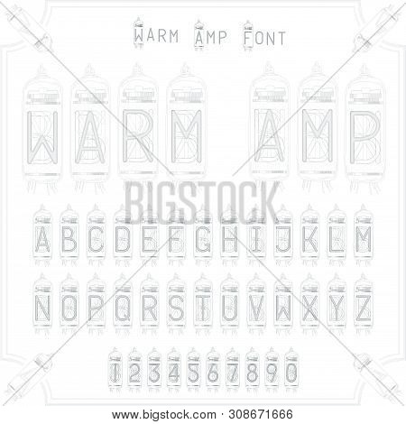 Amp Font Vintage Retro Lines 1900 20 Century Black Monogram