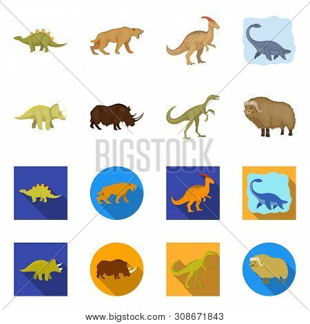 Isolated Object Of Animal And Character Logo. Set Of Animal And Ancient Vector Icon For Stock.