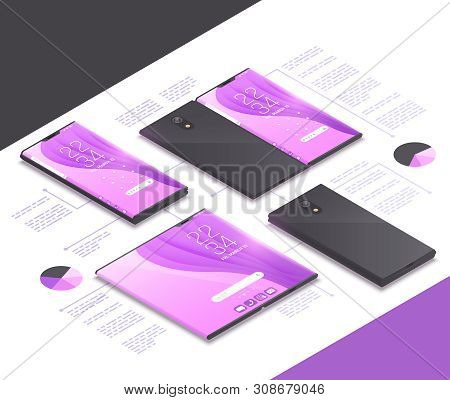 Foldable Gadgets Concepts Isometric Mockup Composition With Next Gen Models Of Electronics Tablets S