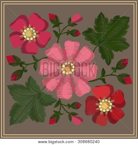 Embroidered Pattern With Satin Stitching Flowers, Buds And Mallow Leaves.