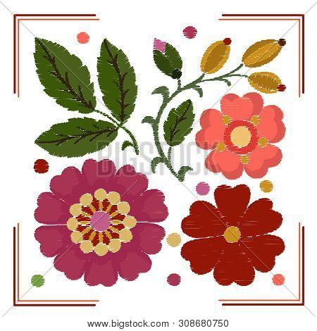 Stylization Of Embroidery Elements With Satin Flowers And Rosehip Leaves