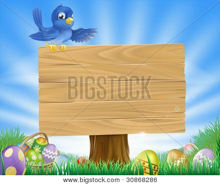 Bluebird Easter Cartoon Background