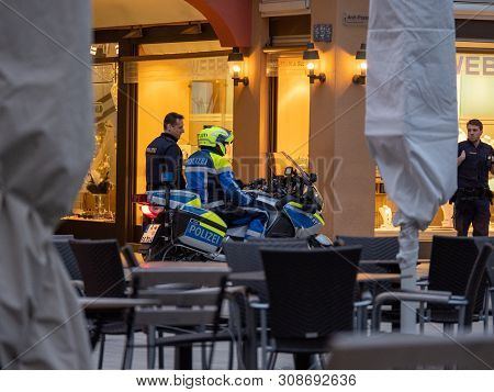 Augsburg, Germany - March 26, 2019: German Police Motorcycle From The State Of Bavaria With The Lett