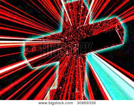 Neon Cross with flares