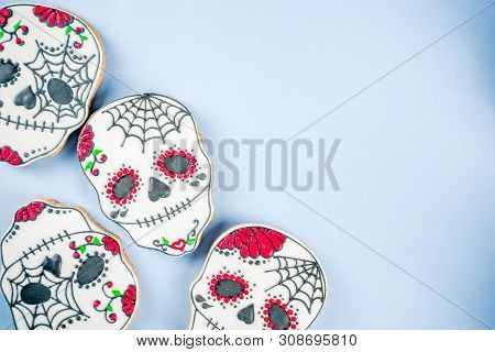 Dia De Los Muertos, Mexican Day Of The Dead Or Halloween Greeting Card Background With Traditional C