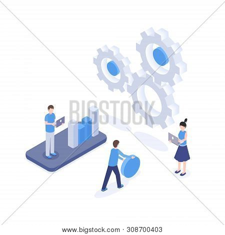 Software Optimization Vector Isometric Illustration. Seo, Digital Marketing Research, Analytics And