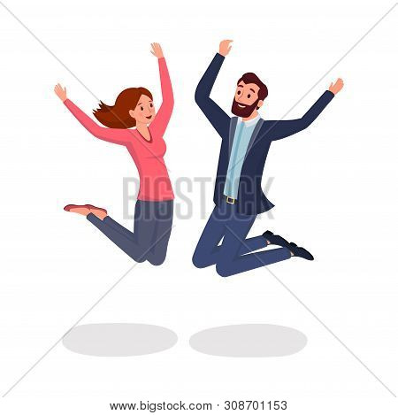 Jumping Colleagues Flat Vector Illustration. Two Friends, Man And Woman Leaping In Excitement And Jo