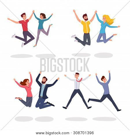 Jumping People Flat Vector Illustrations Set. Smiling Students, Colleagues, Couple, Friends Leaping