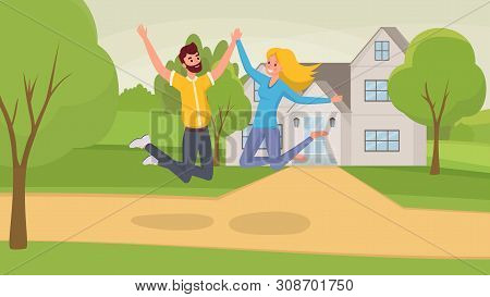 Jumping Couple Flat Vector Illustration. Wife And Husband Cartoon Characters Celebrating Moving Into