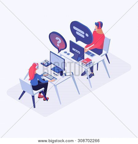 Hotline Office Workers Vector Isometric Illustration. Call Center Operators In Headset At Workplace,