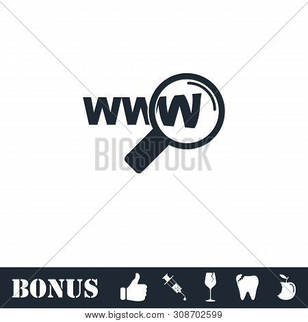 Website Search Icon Flat. Vector Illustration Symbol And Bonus Pictogram