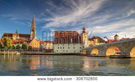 Regensburg, Germany. Panoramic Cityscape Image Of Regensburg, Germany During Sunny Summer Day.