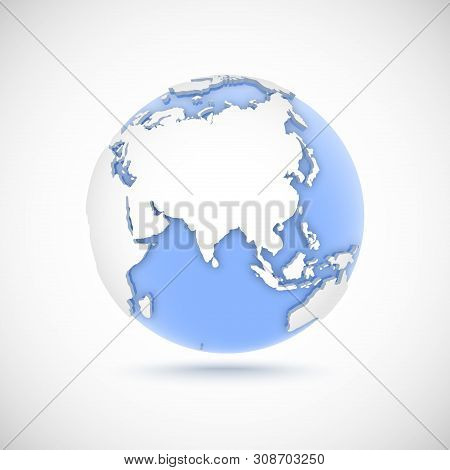 Volumetric Globe In White And Blue Colors. 3d Vector Illustration With Continents Eurasia, Europe, A