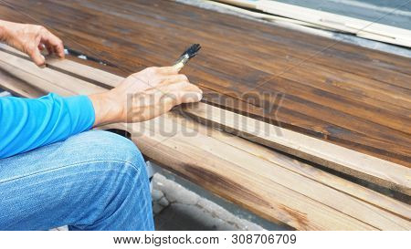 Worker He Paintting The Pine Wood For Decorate In Japanese Restuarant Shop Style, Service Industries