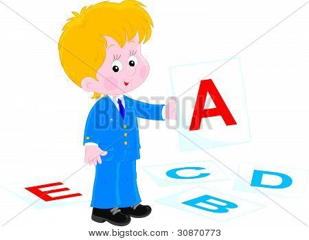 Schoolboy in English class