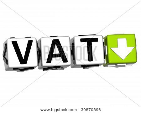 3D Vat button block cube text over white background poster