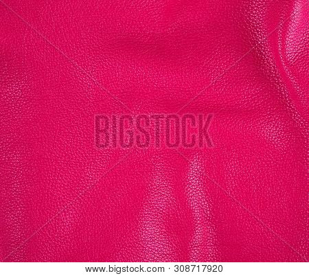 Natural Bright Pink Cowhide Texture, Full Frame,  Close Up