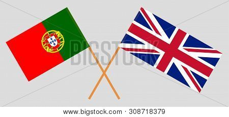 The Uk And Portugal. British And Portuguese Flags. Official Colors. Correct Proportion. Vector Illus