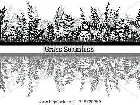 Line Seamless Landscape With Black Silhouette Grass, Reflecting In Water, Isolated On White Backgrou