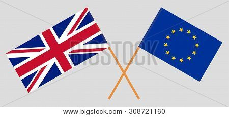 The Uk And The Eu. British And European Flags. Official Colors. Correct Proportion. Vector Illustrat