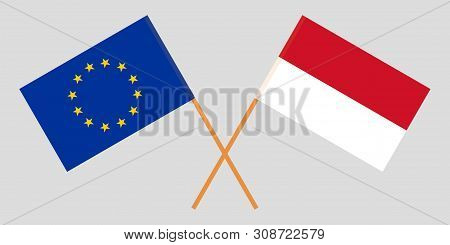 Indonesia And Eu. The Indonesian And European Flags. Official Colors. Correct Proportion. Vector Ill