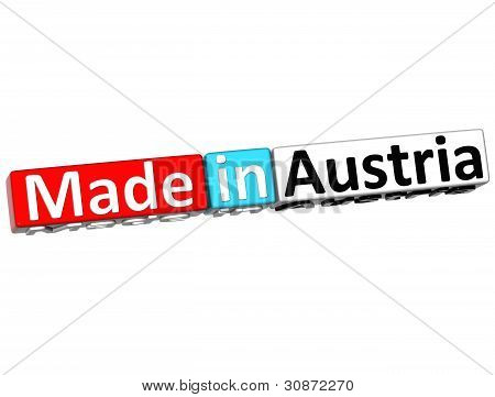 3D Made In Austria Over White Background