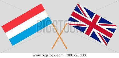The UK and Luxembourg. British and Luxembourgish flags. Official colors. Correct proportion. Vector illustration poster