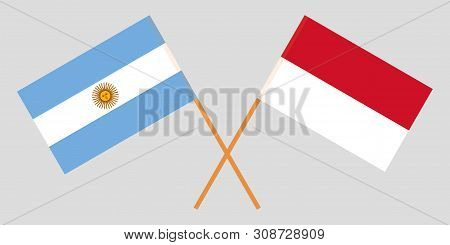 Indonesia And Argentina. The Indonesian And Argentinean Flags. Official Colors. Correct Proportion.