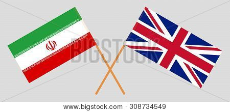 The UK and Iran. British and Iranian flags. Official colors. Correct proportion. Vector illustration poster