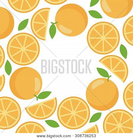 Decorative Frame Of Orange For Web Template, Flat Style