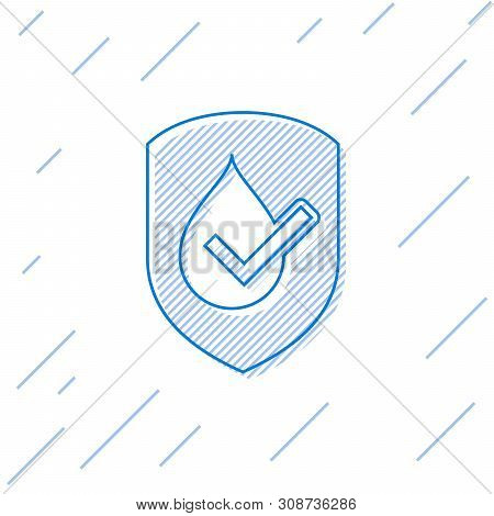 Blue Waterproof Line Icon Isolated On White Background. Water Resistant Or Liquid Protection Concept